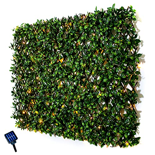 Rose's Rustics Expandable Faux Privacy Fence with Solar Fairy Lights, Outdoor Privacy Screen for Garden, Patio, Apartment Decor (Warm Light)