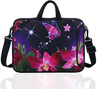 "10-Inch Laptop Shoulder Sleeve Case and Tablet Bag for most 9.7"" 10"" 10.1"" 10.2"" Ipad/Notebook/eBook/Readers (pink flower)"