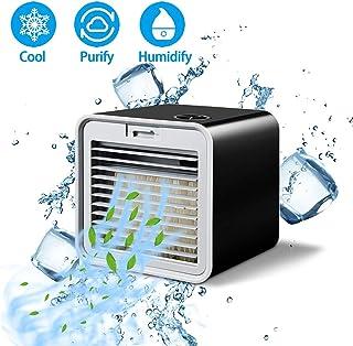 Personal del refrigerador de aire, portátil Mini acondicionador de aire, refrigeradores evaporativos, humidificador, purificador, 3 velocidades de ventilador de refrigeración de escritorio,Black