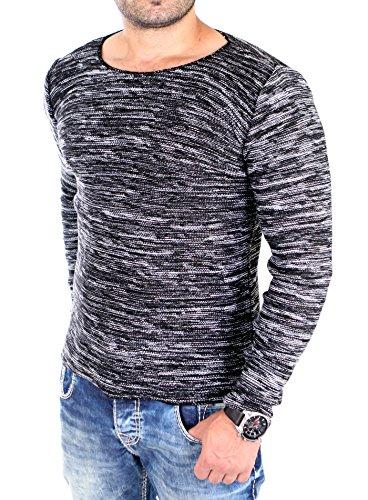 Reslad Pullover Herren dünner Feinstrickpullover Männer Strick-Pulli Winter Strickpullover ohne Kapuze Rundhals-Auschnitt Slim Fit RS-3125 Schwarz L