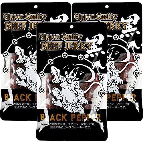 ヤガイ NipponQuality 黒胡椒 ビーフジャーキー 100g (3袋) 風神 雷神 おつまみ 国産