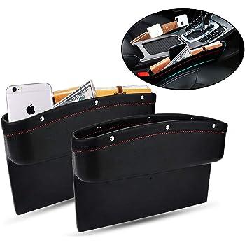 LOCEN Premium PU Leather Car Seat Gap Filler Catch Side Pocket Organizer set of 2 Beige