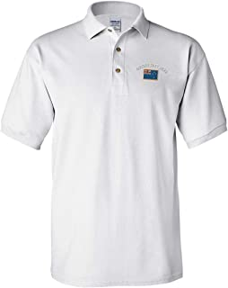 Custom Text Embroidered New Zealand Men's Adult Button-End Spread Short Sleeve Cotton Polo Shirt Golf Shirt - White, 2X Large