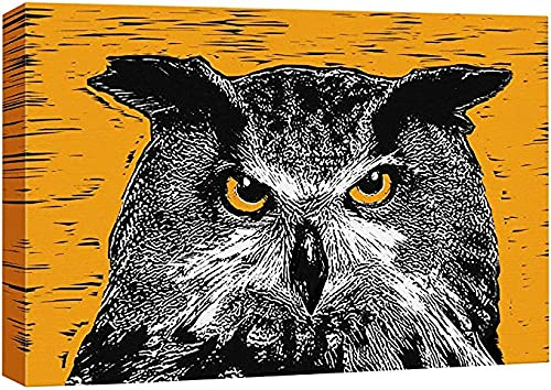 Canvas Wall Art A Night Owl in Orange Background Animali Wildlife Block Print Pop Art Modern Portrait Colorato per soggiorno
