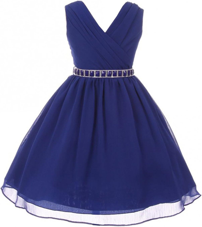 Girls Dress Sleeveless V Neck Cross Body Chiffon Party Flower Girl Dress 4-18