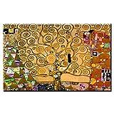 モダン キャンバス塗装 アーティストグスタフ・クリムト作品生命の木リビングルームの写真油絵キャンバスプリント家の装飾絵画 50*75cm