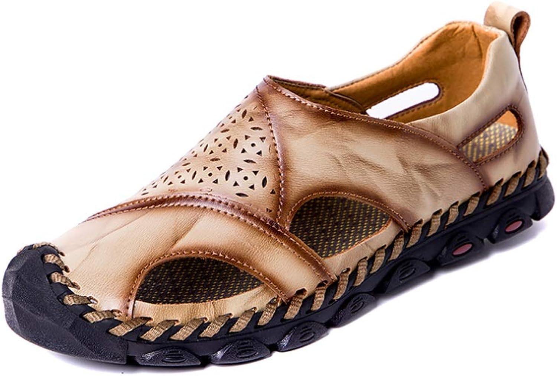 WZASD Summer Men's Sandals Breathable Hole shoes Casual Cool shoes Non-slip (color   A, Size   46EU)