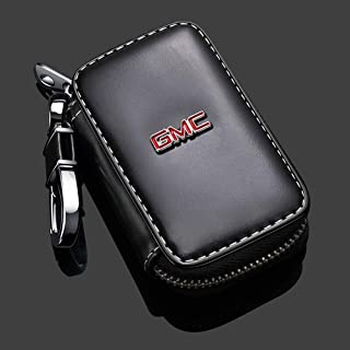 Gaocar Auto Parts Car Key case for GMC,Genuine Leather Car Smart Key Chain Keychain Holder Metal Hook and Keyring Zipper Bag for Remote Key Fob - Black (for GMC)