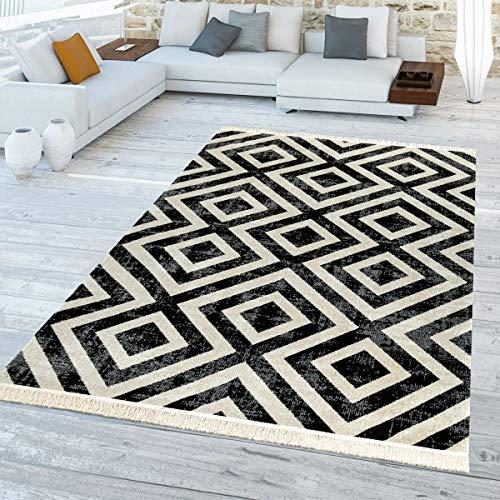 TT Home Skandi Vloerkleed, zwart/wit, voor buiten, balkon, terras, ruiten, design, weerbestendig