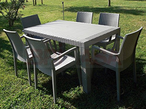 DIMAPLAST Set Garden Top Tortora Tavolo e 4 Poltrone in Resina Effetto Rattan da Giardino