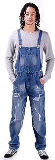 Wash Clothing Company Mens Loose Fit Dungarees Bib Overalls Midwash Blue Denim Jeans Streetwear Fashion
