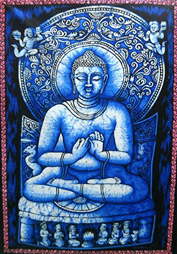 Preaching Lord Buddha Batik Wall Tapestry 40' X 30' Inches (Large)
