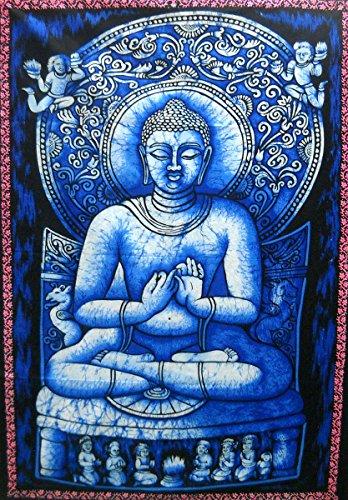 Preaching Buddha Batik Cotton Wall Painting 40' X 30' Inches (Large)