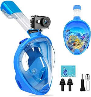 FEIYU CREATIVE Dual Snorkel Mask - Diving Mask for Adults & Kids, Easy Breath, Anti-Fog & Anti-Leak 180°Full Face Snorkel Kit w/GoPro Mount, Perfect for Swiming Skin Diving