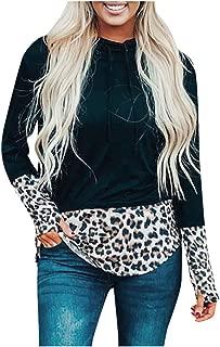 OULSEN Women Autumn Fashion Hoodies Sweatshirt Splice Leopard Print Loose Casual Long Sleeve Pullover Blouse Tops