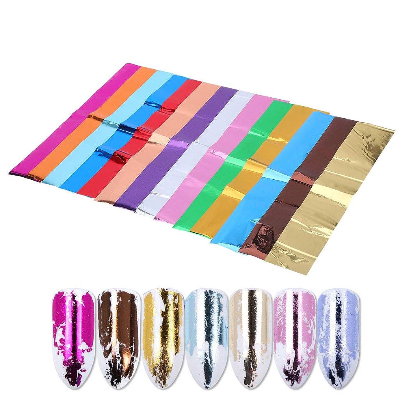 アルバニー小学生口述ソリッドカラーのネイルアップリケ、偽ネイル用の光沢のある装飾的なステッカーの14個/セット