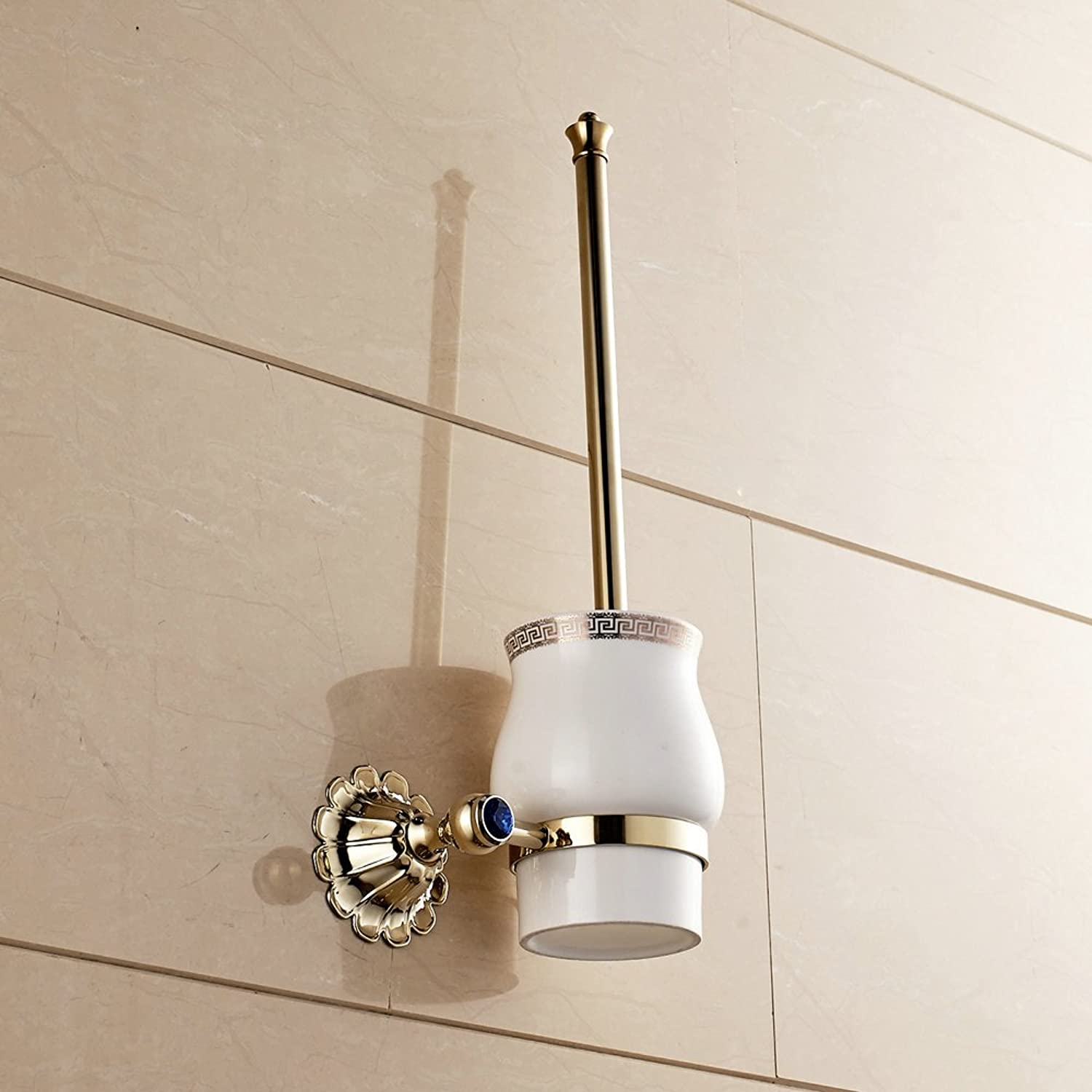 Hiendure Toilet Brush With Wall Mounted Ceramic Holder, Titanium gold Toilet Brush And Holder Polished gold