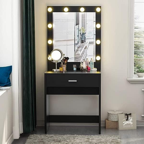 Tribesigns Vanity Set With Lighted Mirror Makeup Vanity Dressing Table Dresser Desk With Large Drawre For Bedroom Black 10 Warm LED Bulb