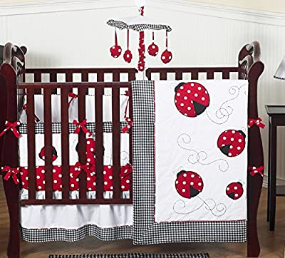 Red and White Polka Dot Ladybug Baby Girl Bedding 9pc Crib Set from Sweet Jojo Designs