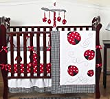 Sweet Jojo Designs Red and White Polka Dot Ladybug Baby Girl Bedding 9pc Crib Set
