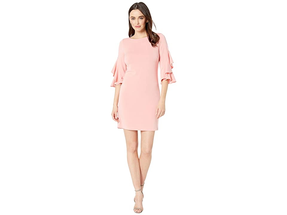 Taylor Ruffle Sleeve Solid Shift Dress (Coral) Women