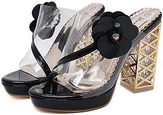 Women's Block Heel Sandals,Summer Flowers Hollow Sandals,Ladies Waterproof Platform Sandals Fish Mouth Sandal