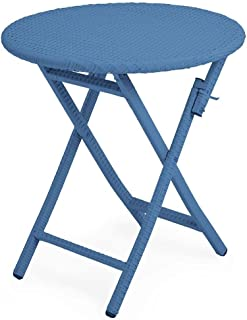 Plow & Hearth Tangier Wicker Outdoor Furniture Folding Round Bistro Table 28 Dia. x 29 H Blue