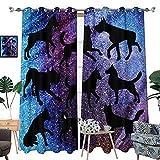 Cortinas opacas con purpurina para habitación de niños, con ojales térmicos y aislantes, para sala de estar, juego de 2 paneles, 108 cm de ancho x 215 cm de largo (cada panel)