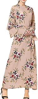 Comaba Women's Gowns Floral Printed Dubai Flare Sleeve Muslim Arabian Maxi Dress