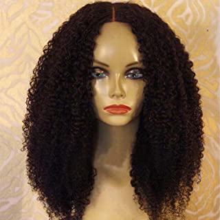 ALYSSA Full Lace Human Hair Wigs Glueless Kinky Curly Lace Wig Pre Plucked Hair Lines Virgin Hair Wigs Afro Curl For Black Women (14inch, Natural Color)