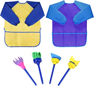 Bassion Pack of 2 Children's Art Smocks, Waterproof Artists Painting Aprons Long Sleeve with 3 Pockets for Age 2-6 Years 2 Pack(4 Brushes)