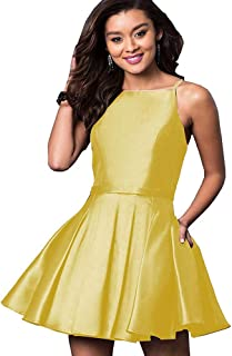 Women's Straps Satin Prom Ball Homecoming Dress with Pockets