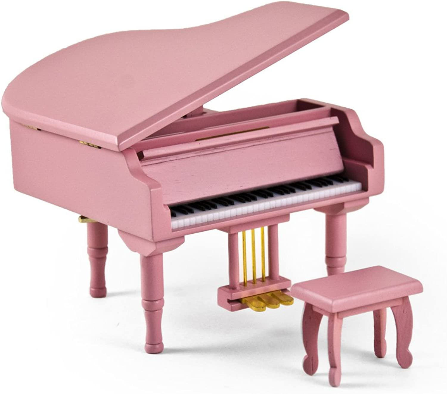 Adorable Pink Baby Grand Piano Music Jewelry Box With Bench  Over 400 Song Choices  Clair de Lune