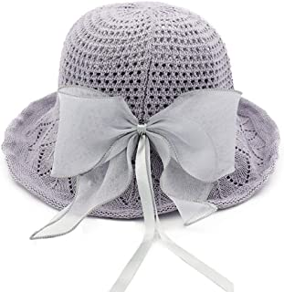 Hats Foldable with Bow Women's Straw Hat Light Beach Hat Fashion (Color : Gray)