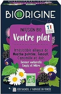 BiOrigine – Infusion Ventre Plat – Menthe poivrée & fenouil – Ingrédients d'origine naturelle – Fabriqué en France – 20