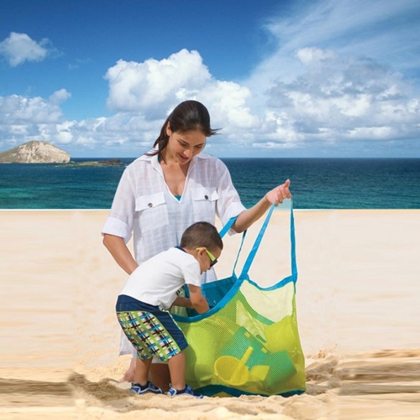 矢印がんばり続けるちょっと待ってYIJUPIN 3PCS /セットメッシュビーチバッグトート、ビーチ用メッシュバッグトートオーガナイザーおもちゃ収納Foldable Bag(Small + Medium + Large) (色 : レッド)
