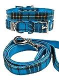 UrbanPup Blue Tartan Fabric Collar & Lead Set (Medium - Dog Neck Circumference, adjusts: 11