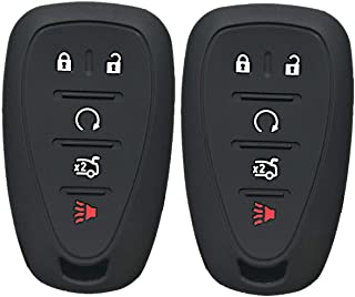 KeylessOption KeyGuardz Keyless Entry Remote Car Smart Key Fob Outer Shell Cover Soft Rubber Protective Case for Chevy Camaro HYQ4EA Pack of 2
