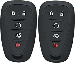 Qty(2) Alegender Silicone 5 Buttons Smart Key Cover Case Fob Holder Bag Keyless Protector Fit for 2017 2018 2019 Chevy Malibu Camaro Sonic Cruze Volt Equinox Chevrolet HYQ4EA