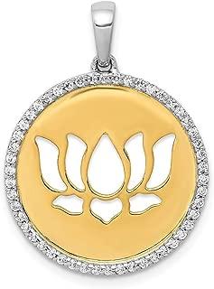 14k Two-tone Diamond Lotus Flower Pendant, 14 kt White and Yellow Gold