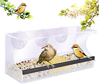 YUT Clear Window Bird Feeder, Transparent Viewing, Removable Seed Tray, Drain Holes and Super Strong Suction Cups, Easy Clean Acrylic Outside Wild Bird House, High Seed Capacity Outdoor Birdfeeders