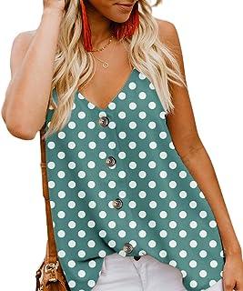 Angerella Women's V Neck Sleeveless Sexy Blouse Botton Down Tank Tops Casual Shirts