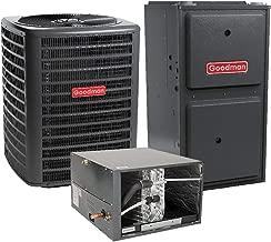 Goodman 2 Ton 15 SEER Air Conditioner GSX140251, Coil CHPF3636B6, 40,000 BTU 96% AFUE Horizontal Gas Furnace GMVC960403BN