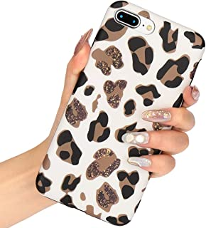 L-FADNUT Case Animal Leopard Print Phone Case Cool For iPhone 6 iPhone 6S Ultra Thin Cute Back Cover Skin Cheetah Cat Gel Silicone TPU Protective Cover NO REAL GLITTER For iPhone 6/6S Girls Case White