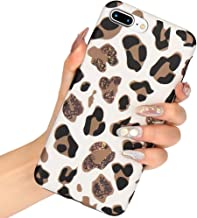 L-FADNUT Case Animal Leopard Print Phone Case Cool for iPhone 7 Case iPhone 8 Ultra Thin Cute Back Cover Cheetah Cat Gel Silicone TPU Protective Cover(NO Real Glitter) for iPhone 7 Case/8 Case White