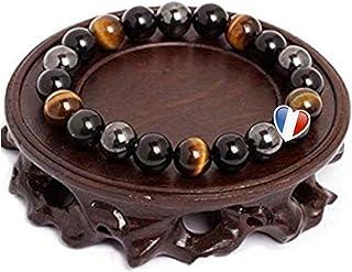 ARMONY PARIS Bracelet Pierre Naturelle Triple Protection Perle Pierre Naturelle Oeil de Tigre Hematite Obsidienne Noire ou...