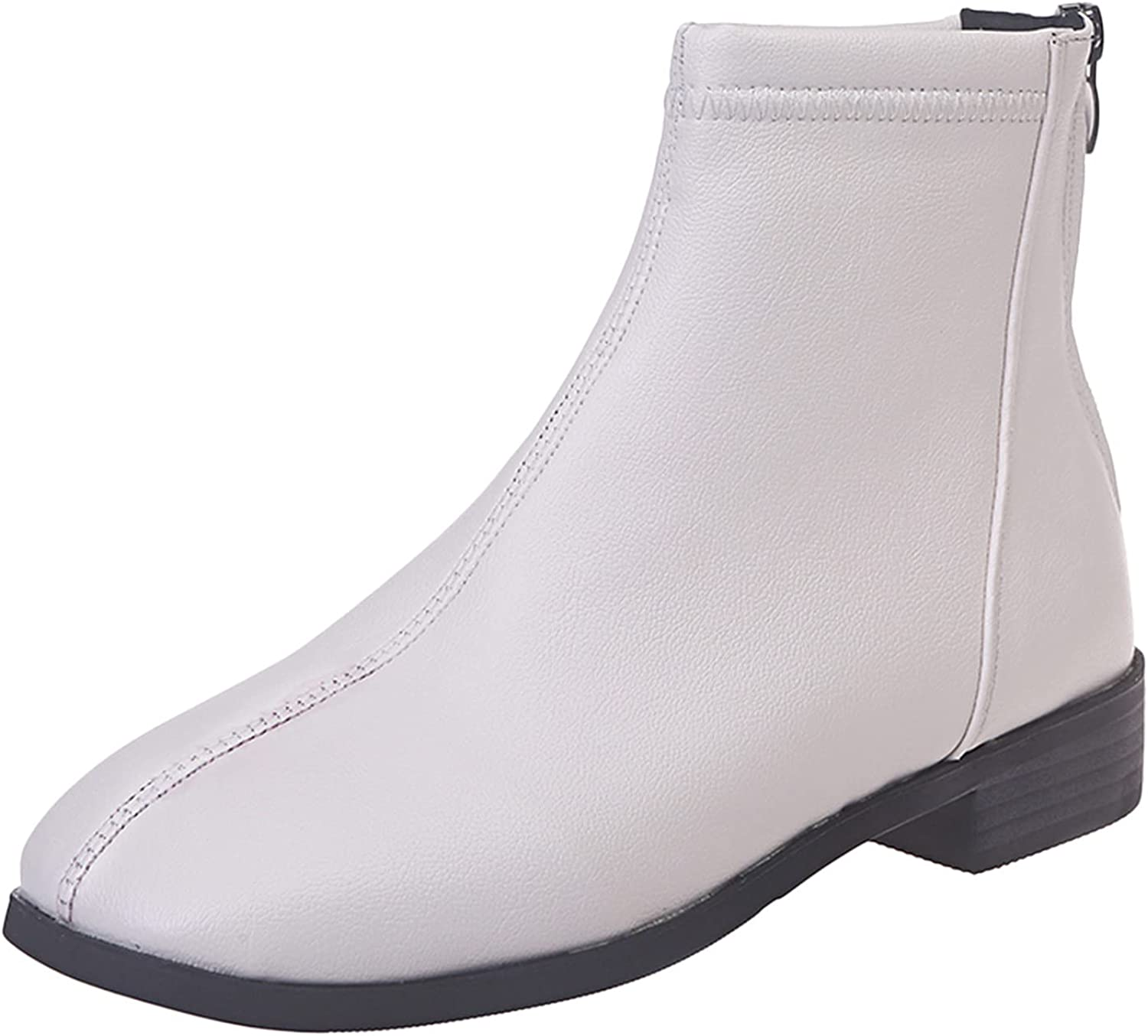 Women's Ankle Booties Fashion British Style Low-heeled Zipp