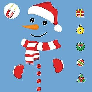 Snowman Refrigerator Magnets Gifts Christmas Decorations - Datream Hat Button Scarf Cartoon Festival Home Decor Metal Door Art Wall Garage Refrigerator Cabinet,17 PCs