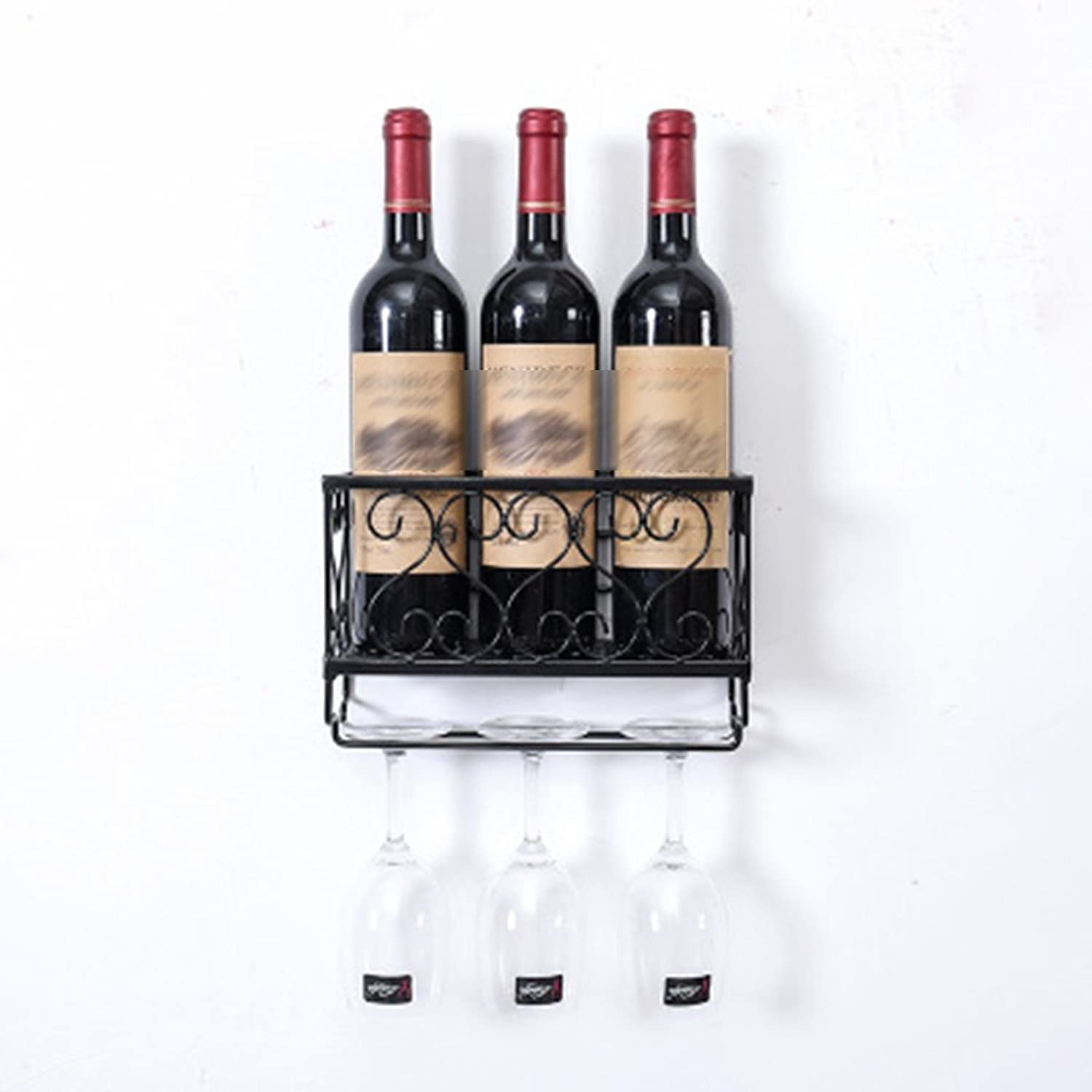 Creative Wall-Mounted Wine Rack Wine Glass Hanging Cup Holder (color   Black, Size   25  10  17cm)
