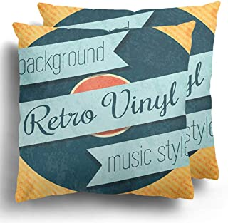 Throw Pillow Covers Pack of 2 Old Black Vintage Retro Color Vinyl Record Disc Long Rock Play Album Polyester Cushion Case Square Cover Home Decor 20 x 20 Inches